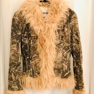 Genuine Leather And Faux Fur Jacket